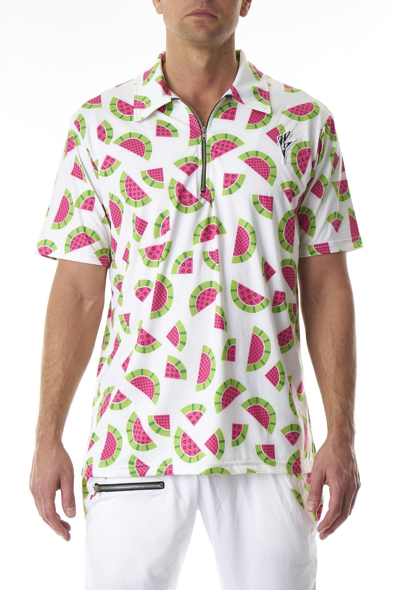 Party Rock Clothing★パーティーロッククロッシング ★La Freak Athletic Polo Prints (ホワイト・ウォーターメロン)