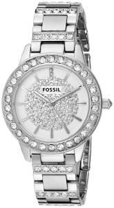 [フォッシル]Fossil  Jesse CrystalAccented SilverTone Stainless Steel Watch ES3097