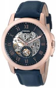[フォッシル]Fossil  Grant ThreeHand Automatic Leather Watch Navy Blue ME3054 メンズ