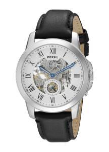 [フォッシル]Fossil  Grant Stainless Steel Automatic Watch with Black Leather Band ME3053