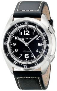 [ハミルトン]Hamilton  Khaki Aviation Stainless Steel Watch with Black Leather Band H76455733