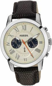 [フォッシル]Fossil  Grant Stainless Steel Watch with Black Leather Band FS5021 メンズ