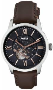 [フォッシル]Fossil  Townsman Mechanical Stainless Steel Watch with Brown Leather Band ME3061