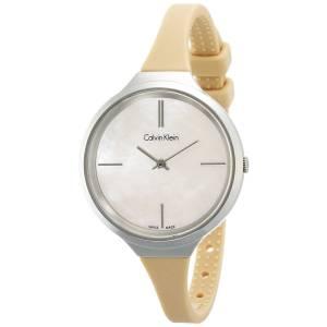 [カルバン クライン]Calvin Klein  Tan Silicone Strap Mother of Pearl Dial Watch K4U231XE