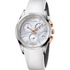 [カルバン クライン]Calvin Klein Chronograph Mother Of Pearl Dial White Leather k5a37blg