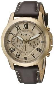 [フォッシル]Fossil 腕時計 Grant Chronograph Leather Watch Dark Brown FS5107 メンズ