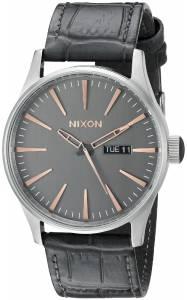 [ニクソン]NIXON  Sentry Leather Analog Display Japanese Quartz Grey Watch A1052145 メンズ