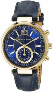 [マイケル・コース]Michael Kors  Sawyer Stainless Steel Watch With Blue Leather Band MK2425