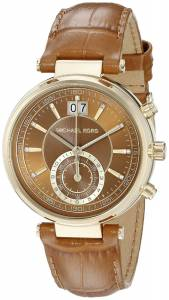 [マイケル・コース]Michael Kors  Sawyer Watch With Brown Leather Band MK2424 レディース