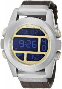 [ニクソン]NIXON  Unit SS Leather Digital Display Quartz Brown Watch A9461887-00 メンズ