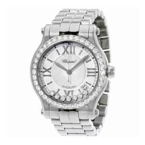 [ショパール]Chopard Happy Sport Round Stainless Steel Automatic Diamond Bezel Watch 278559-3004