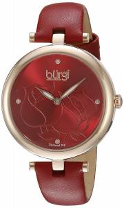 [バージ]Burgi  Rose Gold Quartz Watch With Red Diamond Dial And Red Leather Strap BUR151RD