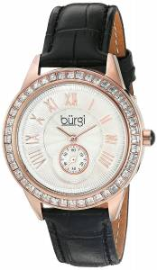 [バージ]Burgi  Rose Gold Quartz Watch With Silver Dial and Swarovski Crystal Accented BUR144BK