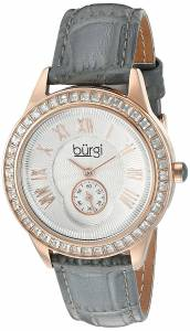 [バージ]Burgi  Rose Gold Quartz Watch With Silver Dial and Swarovski Crystal Accented BUR144GY