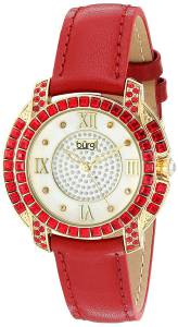 [バージ]Burgi  Yellow Gold Quartz Watch With Diamond Mother of Pearl Swarovski Crystal BUR156RD