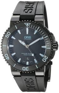 オリス Oris Men's 'Aquis' Swiss Automatic Stainless Steel and Rubber Diving Watch, 73376534725RS