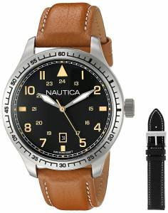 [ノーティカ]Nautica 'BFD 105 DATE' Quartz Stainless Steel and Leather Casual Watch, NAD11018G
