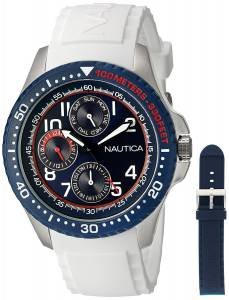 [ノーティカ]Nautica 'NSR 200' Quartz Stainless Steel and Silicone Casual Watch, NAD14533G