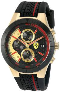 [フェラーリ]Ferrari  830298 'RED REV EVO CHRONO' Quartz GoldTone and Silicone Watch 0830298