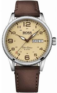 [ヒューゴボス]HUGO BOSS  Pilot Vintage Brown / Parchment Cream Leather Analog Quartz 1513332