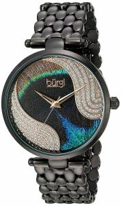 [バージ]Burgi  Genuine Swarovski Crystal Peacock Feather Pattern Dial With Black Case BUR162BK
