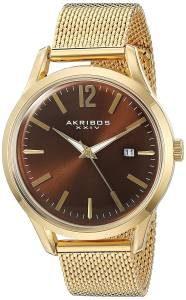[アクリボス XXIV]Akribos XXIV Quartz GoldTone Case with GoldTone Accented Brown AK920YGBR