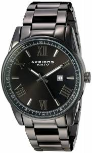 [アクリボス XXIV]Akribos XXIV Quartz Black Case with SilverTone Accented Black Dial on AK936BK