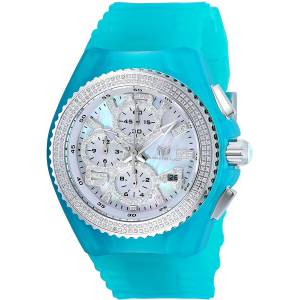 [テクノマリーン]TechnoMarine Chrono Diamond Accent Turquoise Silicone Watch TM-115243