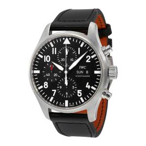 [アイダブルシー]IWC 腕時計 Pilot Black Automatic Chronograph Watch IW377709 メンズ
