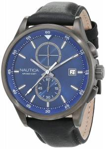[ノーティカ]Nautica  'NCT 19' Quartz Stainless Steel and Leather Casual Watch, NAD18522G