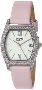 [バージ]Burgi  Matte White Dial with Swarovski Crystal Accented SilverTone Case on BUR166PK