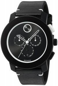 [モバード]Movado  Swiss Stainless Steel and Leather Quartz Watch, Color:Black 3600386 メンズ