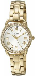 [ゲス]GUESS  Dressy GoldTone Watch with White Dial , CrystalAccented Bezel and U0837L2