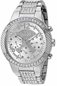 [ゲス]GUESS  Sporty SilverTone Watch with Silver Dial , CrystalAccented Bezel and U0850L1