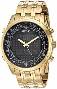 [ゲス]GUESS Trendy GoldTone Stainless Steel Watch with Digital Dial and Deployment Buckle U0859G1