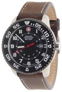 [ウェンガー]Wenger 腕時計 Swiss Military Roadster Steel Watch Brown Leather Strap 79284C