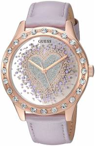 [ゲス]GUESS  Trendy Rose GoldTone Watch with Silver Dial , CrystalAccented Bezel and U0909L3
