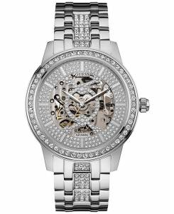 [ゲス]GUESS 腕時計 Silvertone Automatic Skeleton Stainless Steel Bracelet Watch 44mm U0686G1