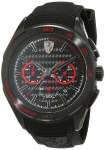 [フェラーリ]Ferrari Black Silicone Band Steel Case Quartz Chronograph Watch 7613272214872