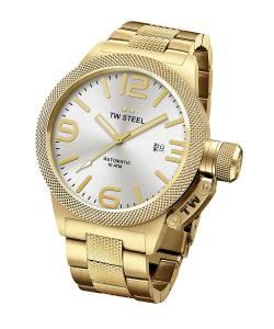 [ティーダブルスティール]TW Steel Canteen Bracelet Automatic Silver Dial Yellow Gold CB86