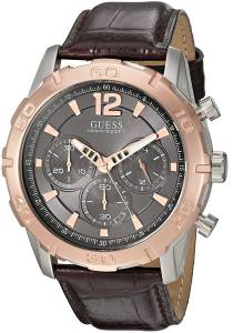 [ゲス]GUESS Sporty Stainless Steel MultiFunction Watch with Chronograph Dial and Genuine U0864G1
