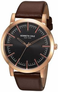 [ケネスコール]Kenneth Cole New York 'Slim' Quartz Stainless Steel and Leather Dress 10030809