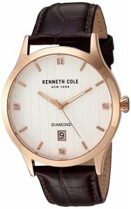 [ケネスコール]Kenneth Cole New York 'Diamond' Quartz Stainless Steel and Leather 10030783