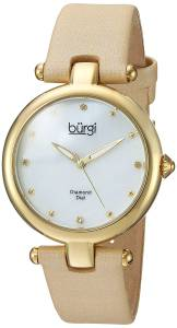 [バージ]Burgi  'Polished Finish Alloy Case' Quartz Stainless Steel and Leather Casual BUR169GLD