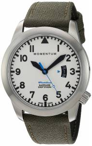 [モーメンタム]Momentum Swiss Quartz Stainless Steel and Canvas Watch, Color:Green 1M-SP18LS6G
