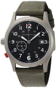 [モーメンタム]Momentum  Quartz Titanium and Canvas Dress Watch, Color:Green 1M-SP60B6G