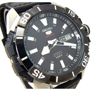 [セイコー]Seiko  5 AUTOMATIC SPORTS BLACK FACE BEZEL SEE THRU BACK 100m SRP799 SRP799K1