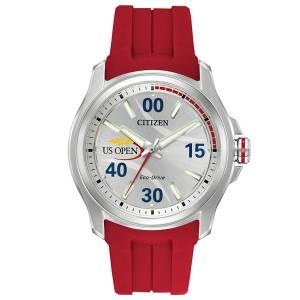 [シチズン]Citizen  US Open Silver/Red Polyurethane Analog EcoDrive J830 Watch AW2011-08A