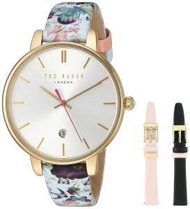 [テッド ベーカー]Ted Baker 'KATE' Quartz Stainless Steel and Leather Dress 10031559