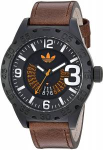 [アディダス]adidas  'Newburgh' Quartz Rubber and Leather Casual Watch, Color:Brown ADH3191